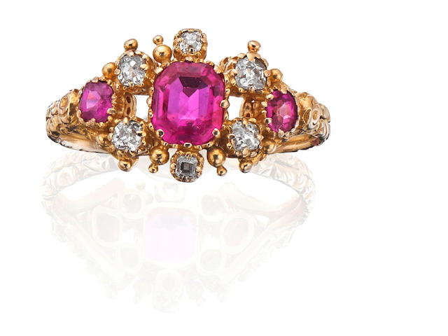 A ruby and diamond dress ring