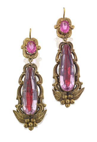 A pair gem-set pendent earrings