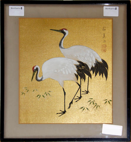 Chinese drawing on silk Depicting two storks. 27 x 23.5cm.
