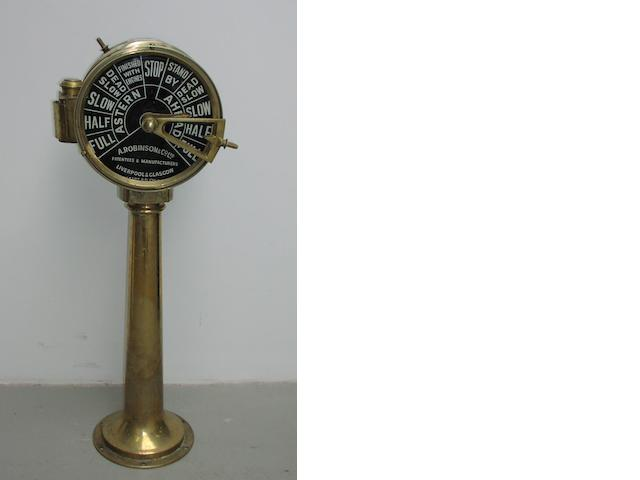 A double ship's engine room telegraph. 16x10x42ins. (41x25x107cm)