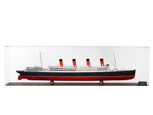 A large Builder's style model of the RMS Aquitania 1914 90x18x45.5ins. (229x46x116cm)