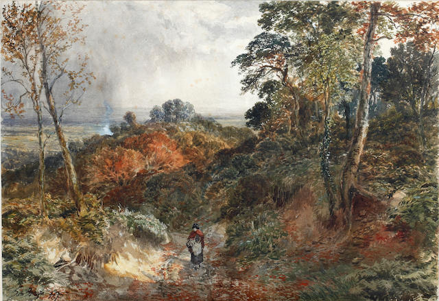 Samuel Bough, RSA (British, 1822-1878) Figure on a Woodland Path