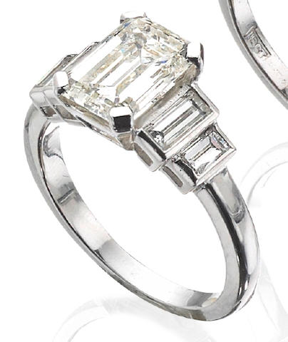 An emerald-cut diamond single-stone ring