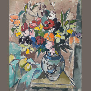 Gregoire Johannes Boonzaier (South African, 1909-2005) Still life with vase of flowers and citrus fruit