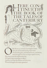 Eric Gill (British, 1882-1940) The Canterbury Tales by Geoffrey Chaucer The set of four volumes, 1929-1931, numbered 387/485, on handmade paper, wood engraved illustrations and marginal decorations, with initials in red and blue, printed and published by the Golden Cockerel Press, bound in the original brown quarter morocco and patterned boards by Sangorski & Sutcliffe, each volume 317 x 196mm (12 1/2 x 7 3/4in) (4 vols)