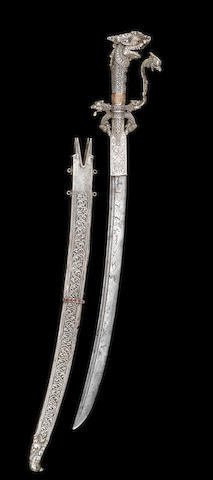 A Singhalese silver-gilt-hilted Sword (Kastane) inscribed A.M and dated 1776 Ceylon, late 18th Century(2)