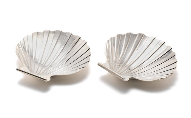 A pair of George III silver shell butter dishes by William Allen III, London 1803 together with a pair of open salts, by Joseph Angel, London 1829 (4)