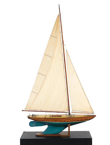 ZAZA, a 36 inch restricted class pond yacht,  35.8x9x66ins. (91x23x168cm)