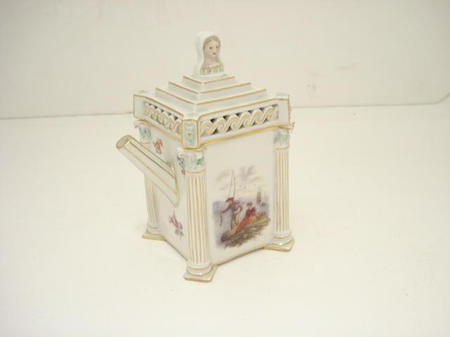 A miniature Architectural Meissen teapot Circa 1850