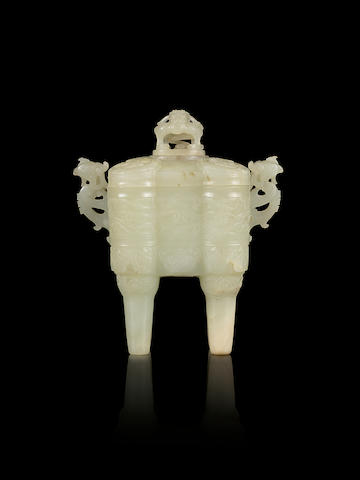 A rare very pale green jade archaistic four-legged vessel and cover  18th century