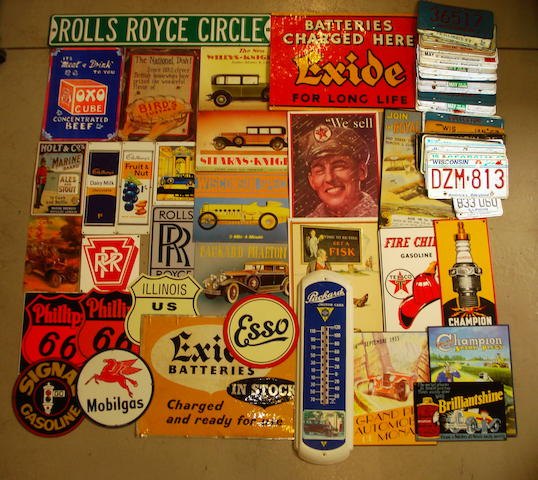 A collection of advertising signs,