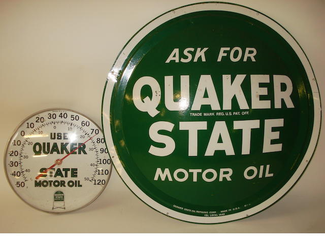 An 'Ask For Quaker State Motor Oil' advertising sign,