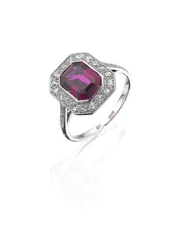 An unheated ruby and diamond cluster ring