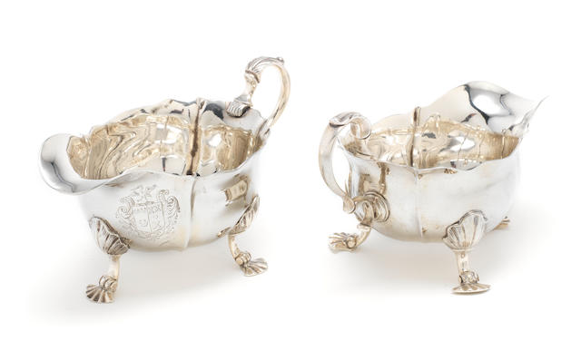 A pair of George II silver sauce boats, by John Pollock, London 1738,  (2)
