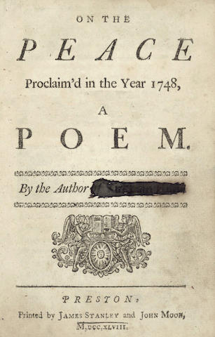 LANCASHIRE IMPRINTS On the Peace Proclaim'd in the Year 1748, A Poem. By the author of Kirkham Hunt, 1748; and 13 others