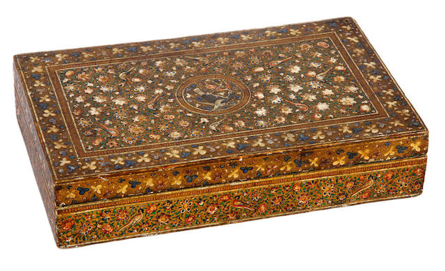 A lacquered wood Box, Kashmir circa 1900