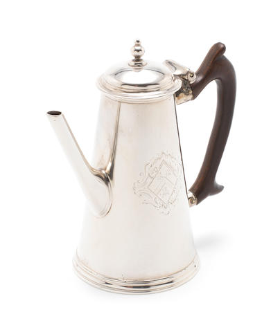 An unusual George II silver miniature coffee pot by Charles Hatfield, London 1734