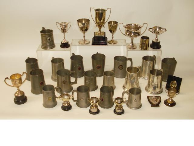 A quantity of pre-War motorcycle trophies, tankards and awards,