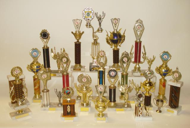 A collection of club racing trophies,