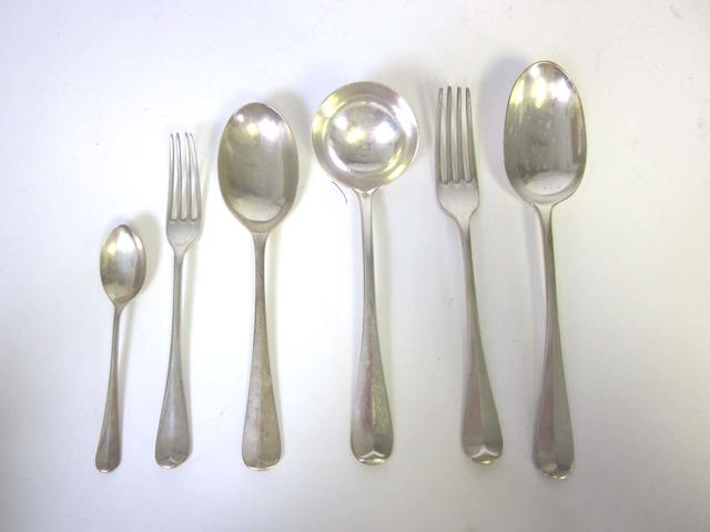 ADVICE ONLY CONTACT CLIENT A silver Hanoverian pattern table service of flatware varying maker's and dates  (Qty)