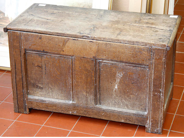"A small oak coffer,late 17th Century, top possible replaced, 82cm wide(32"" wide"