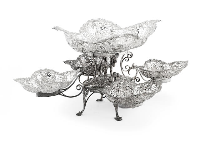 An early 20th century silver epergne by Edward & Sons of Glasgow, Sheffield 1902