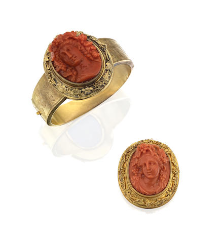 A Victorian coral cameo bangle and brooch en suite
