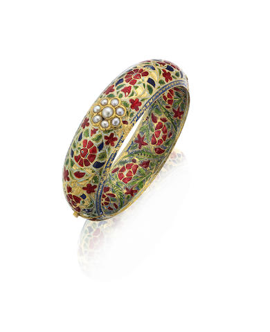 A 19th century Jaipur enamel bangle, Indian