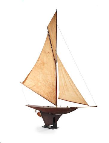 Gladys, a large Victorian straight line pond yacht. 90x12x98ins. (229x31x249cm)
