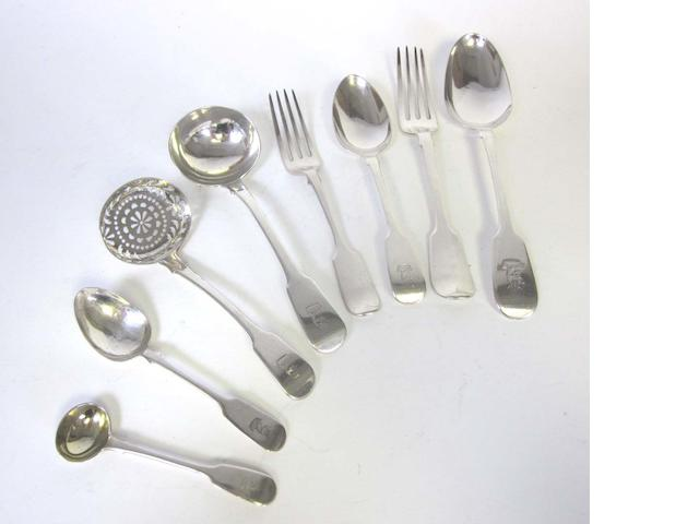 A collected antique silver Fiddle pattern table service of flatware varying maker's and dates  (Qty)