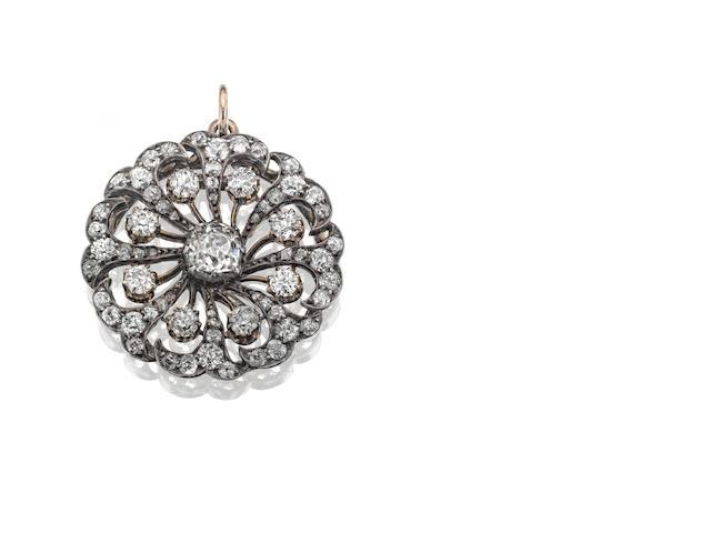 A Victorian diamond brooch/pendant