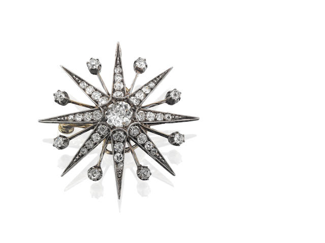 A late Victorian diamond star brooch