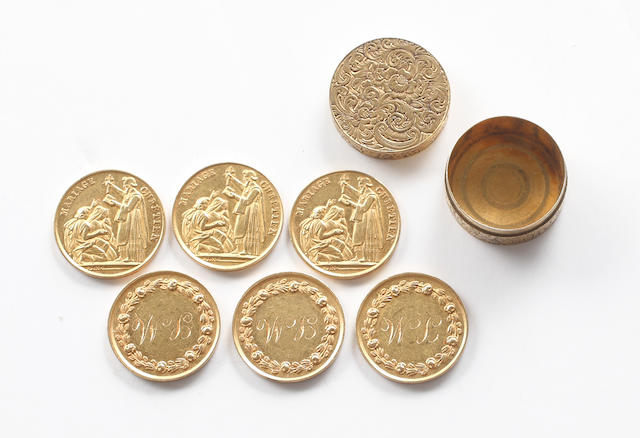 A set of six French mid-19th century gold marriage medals
