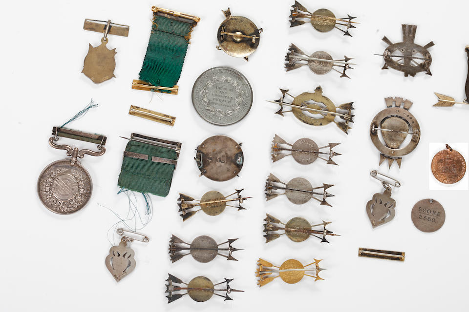 1908 Olympic games medals and other awards presented to Ireland's first female medal winner archer Beatrice Hill-Lowe