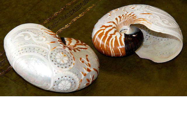 A pair of carved nautilus shells  2