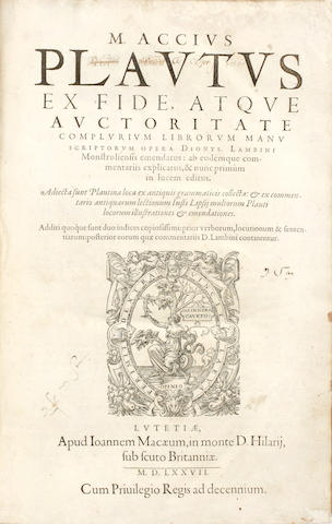 PLAUTUS (TITUS MACCIUS) M. Accius Plautus ex fide atque auctoritate complurium librorum manuscriptorum opera Dionys. Lambini Monstroliensis emendatus, 1577