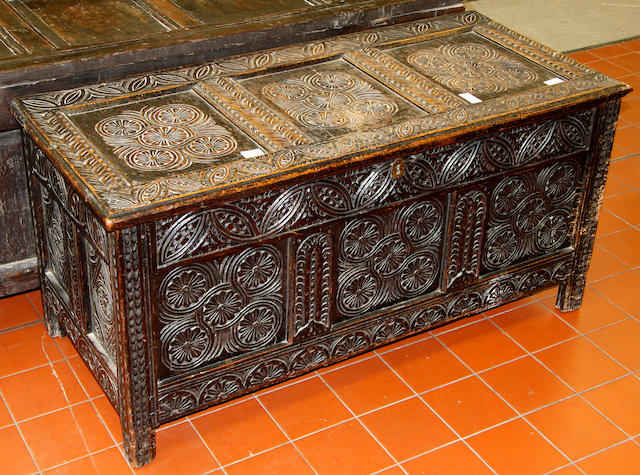 A late 17th Century panelled oak coffer,