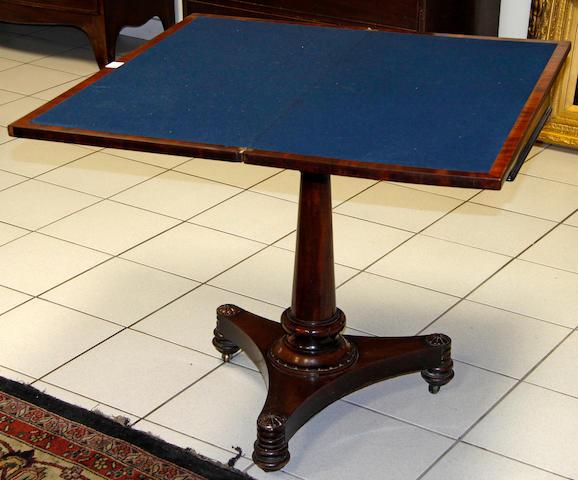 A William IV mahogany card table,