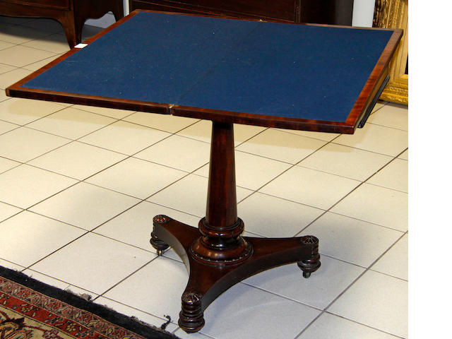 A William IV mahogany card table,