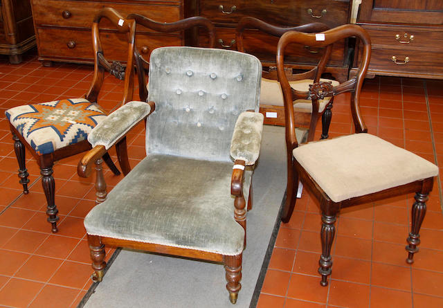 A William IV rosewood open armchair,