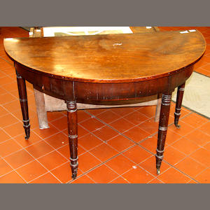 A late Georgian mahogany 'D' shaped side table or dining table end,