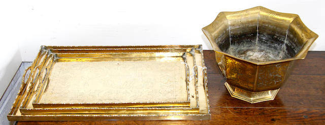 A set of three Chinese export brass graduated trays