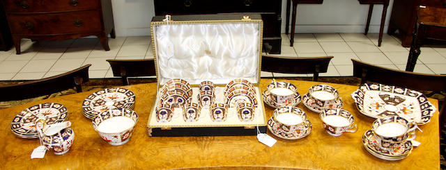 A Royal Crown Derby cased coffee set,for six, of Japan pattern and a similar six place tea service