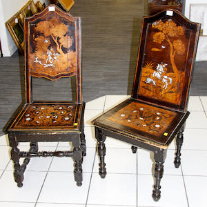 A pair of 19th Century Italian ivory inlaid hall chairs,