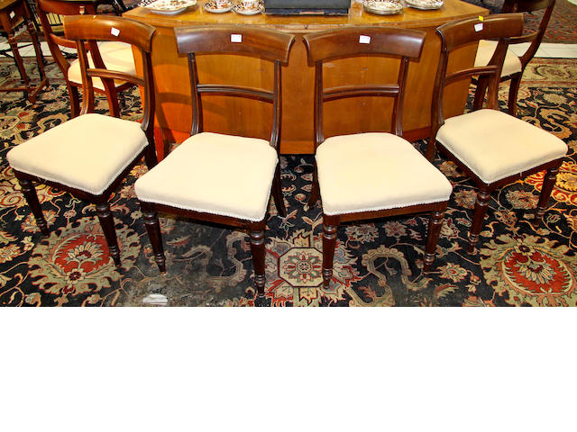 A set of six Victorian mahogany bar back dining chairs,