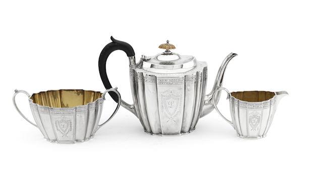 A three piece Victorian silver tea service Sheffield 1887/88