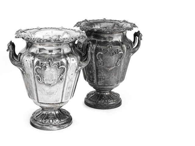 A pair of Victorian Sheffield plated wine coolers by Sissons & Co of Sheffield