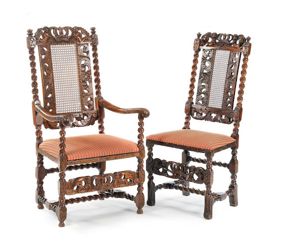A walnut armchair, 17th Century and later; together with a similar side chair.(2)