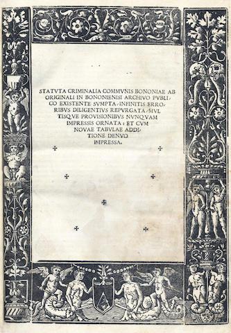 BOLOGNA Statuta criminalia Communis Bononiae, 1525