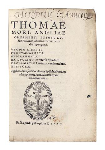 MORE (Sir THOMAS) Lucubrationes... Utopiae [etc.], 1563